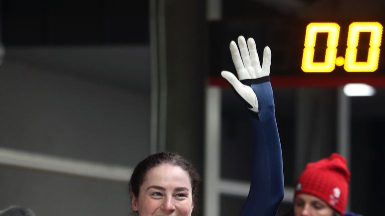 Great Britain's Laura Deas acknowledges the crowd during the Women's Skeleton Heat 4 at the Alpensia Sliding Centre during day eight of the PyeongChang 2018 Winter Olympic Games in South Korea.