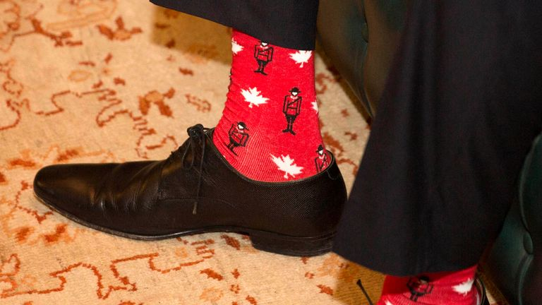 Canadian patterned socks worn by Irish Taoiseach Leo Varadkar, during a visit by the Canadian Prime Minister Justin Trudeau to Farmleigh House in Dublin