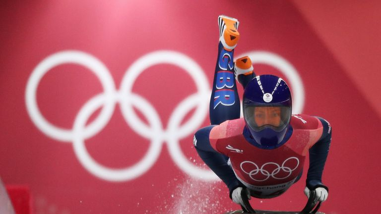 Lizzy Yarnold of Great Britain slides during the Women's Skeleton final run on day eight of the PyeongChang 2018 Winter Olympic Games at Olympic Sliding Centre on February 17, 2018 in Pyeongchang-gun, South Korea