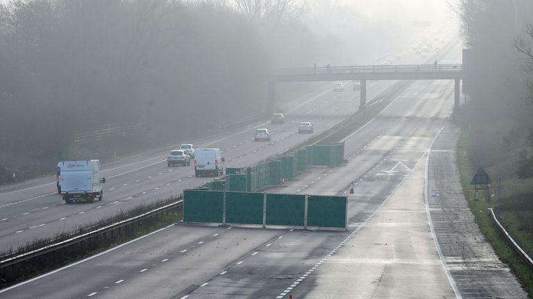 The carriageway remained shut on Tuesday morning