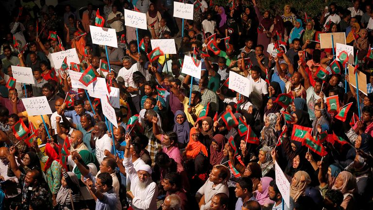 Protests have continued in the capital Male after a ruling on Thursday by the Supreme Court