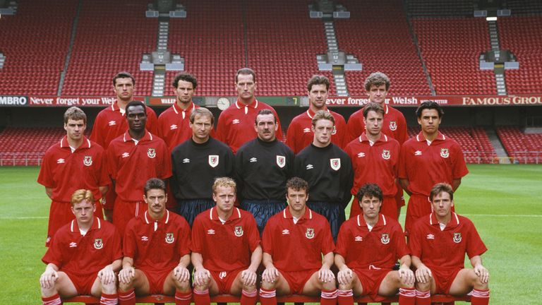 Aizlewood - pictured in the middle of the back row, next to Ryan Giggs - played for Wales