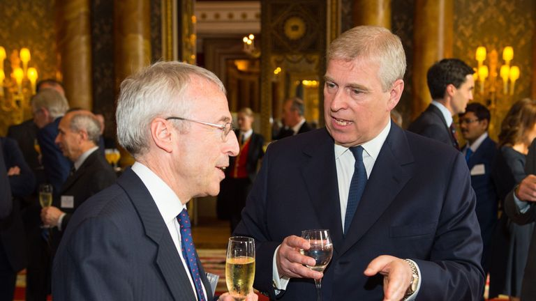 The Duke of York (right) meets Permanent Secretary for the Department of Business Martin Donnelly at a reception for winners of the Queen's Awards for Enterprise 2015, at Buckingham Palace, London.