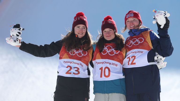 Gold silver bronze medalists Mathilde Gremaud and Sarah Hoefflin of Switzerland with Great Britain's Isabel Atkin in the Ski Slopestyle at the Bogwang Snow Park during day eight of the PyeongChang 2018 Winter Olympic Games in South Korea. PRESS ASSOCIATION Photo. Picture date: Saturday February 17, 2018. See PA story OLYMPICS Speed Skating. Photo credit should read: David DaviesPA Wire. RESTRICTIONS: Editorial use only. No commercial use.