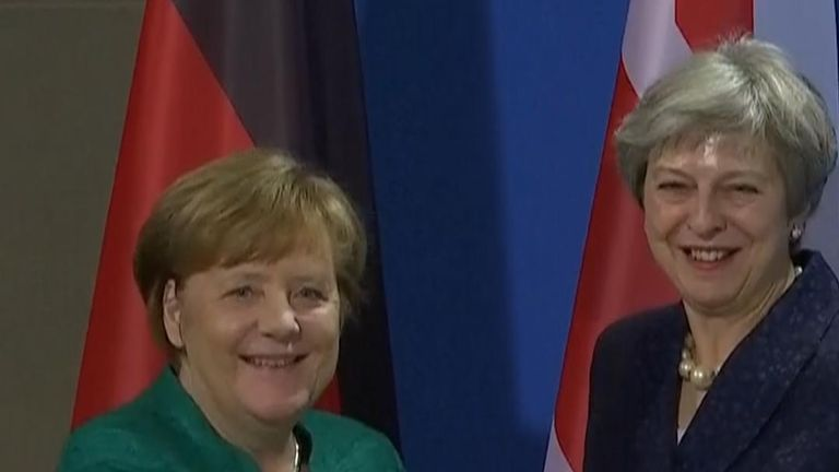 All smiles as Theresa May and Angela Merkel put a positive spin on Brexit.