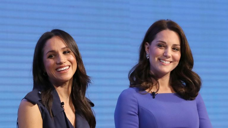 Meghan Markle and the Duchess of Cambridge during the first Royal Foundation Forum in central London