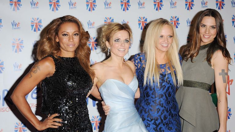 (L-R) Melanie Brown, Geri Horner, Emma Bunton and Melanie Chisholm in 2012