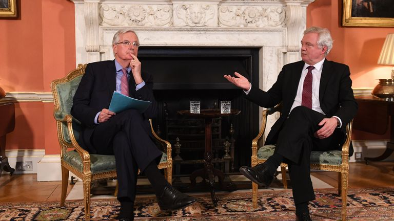 European chief negotiator Michel Barnier and Brexit Secretary David Davis pictured on Monday