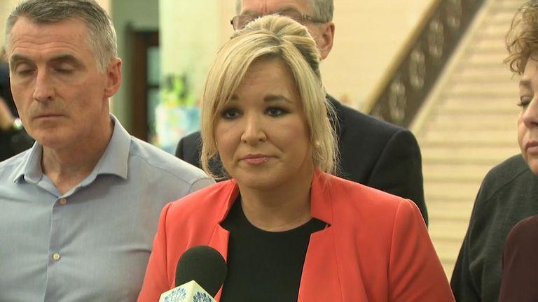 Sinn Fein leader Michelle O'Neill speaking after prospects for a power-sharing deal broke down.