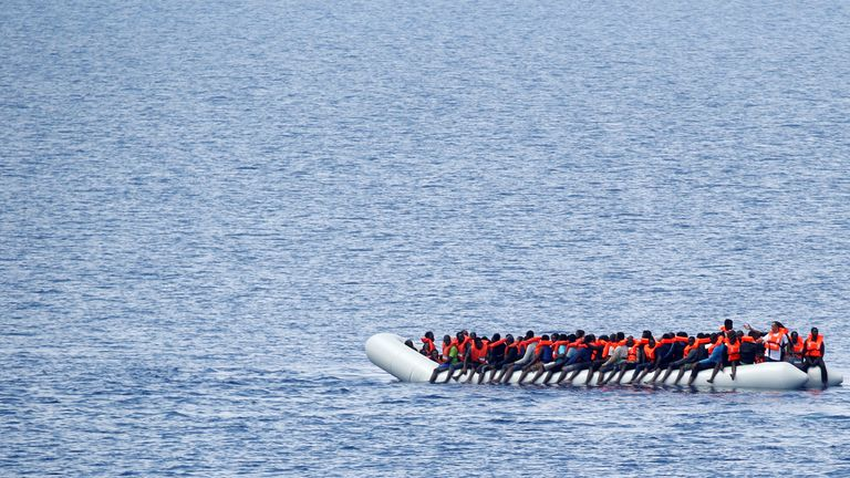 "Migrants wait to be rescued by ""Save the Children"" NGO crew from the ship Vos Hestia in the Mediterranean sea off Libya coast. (File pic)"