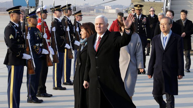 U.S. Vice President Mike Pence and his wife Karen arrive at Osan Air Base in Pyeongtaek, South Korea