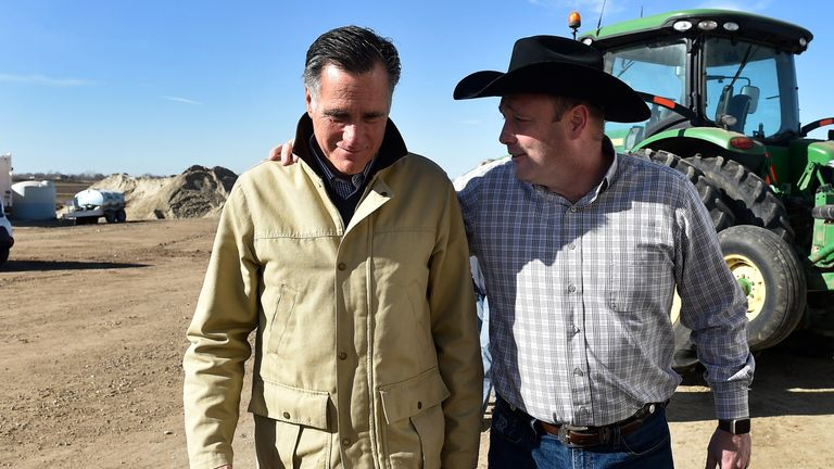 Candidate for senate Mitt Romney (L) tours Gibson's Green Acres Dairy with Kerry Gibson on February 16, 2018 in Ogden, Utah. Romney is running for a U.S. Senate seat from Utah, currently held by Sen. Orrin Hatch, who announced his retirement after the current term expires