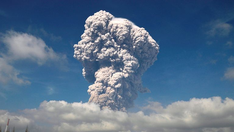 Hundreds of houses in the volcano's danger zone have been covered in ash