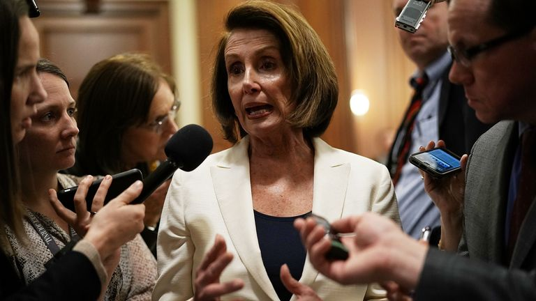 Nancy Pelosi speaks to the press after her mammoth speech
