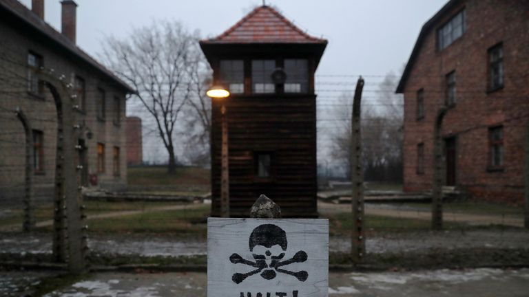"A sign reading ""Stop!"" in German and Polish is seen at the former Nazi German concentration and extermination camp Auschwitz, during the ceremonies marking the 73rd anniversary of the liberation of the camp and International Holocaust Victims Remembrance Day, in Oswiecim, Poland, January 27, 2018. REUTERS/Kacper Pempel TPX IMAGES OF THE DAY"