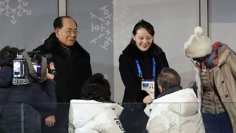 Kim Yo Jong and President Moon Jae-in shake hands
