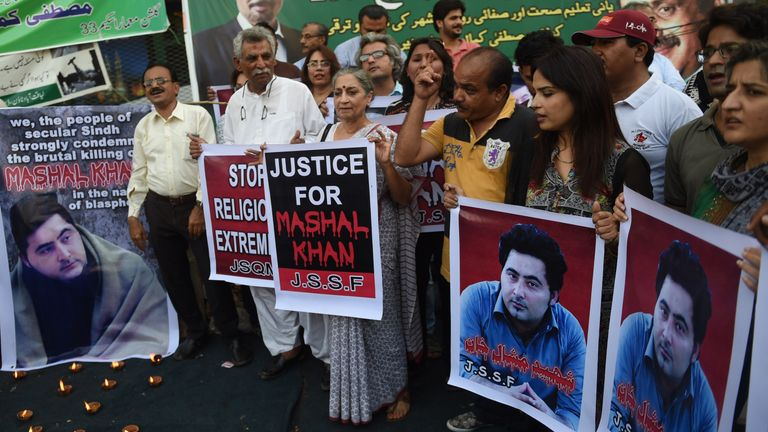 Protesters feared there was little chance of convicting Mashal Khan's killers