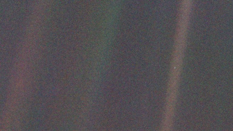 A zoomed-in version of the 'Pale Blue Dot' image
