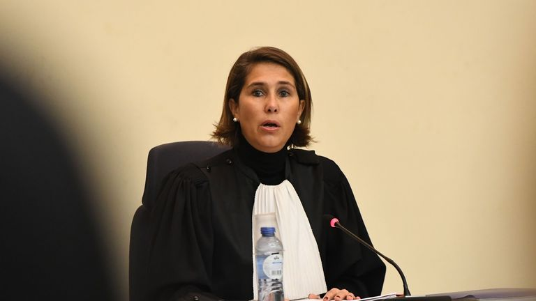 Chairwoman of the court Marie-France Keutgen speaks during the opening of the first day of the trial of Abdeslam