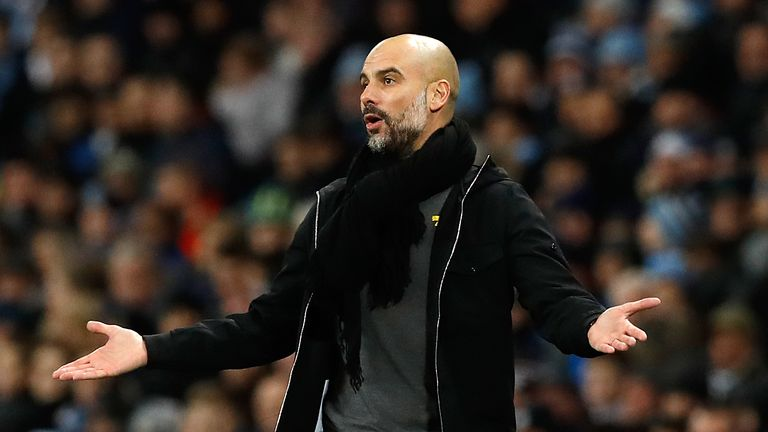 Manchester City manager Pep Guardiola on the touchline during the Premier League match at The Ethiad Stadium