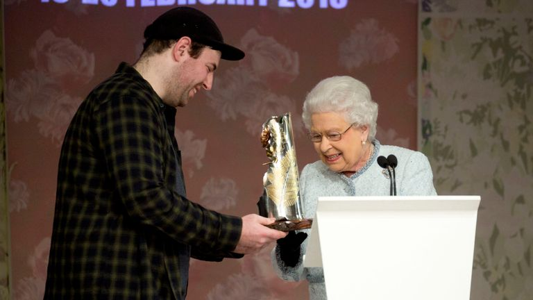 The Queen presented the first Queen Elizabeth II Award for British Design to Richard Quinn