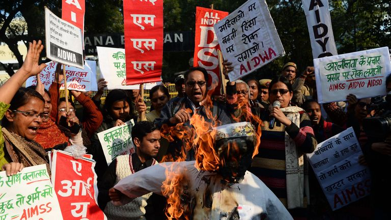 Crowds in Haryana protested after the January murder and gang rape of two girls