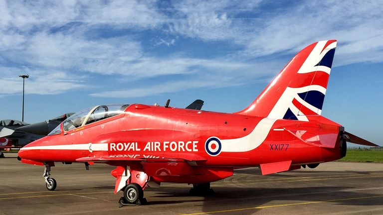 A Red Arrows Hawk T1, the same type of aircraft used by Mr Cunningham