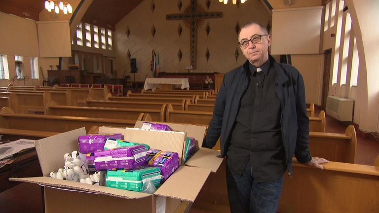 Reverend Jeremy Fraser of St Paul's Church, east London, who has been working with Beauty Banks