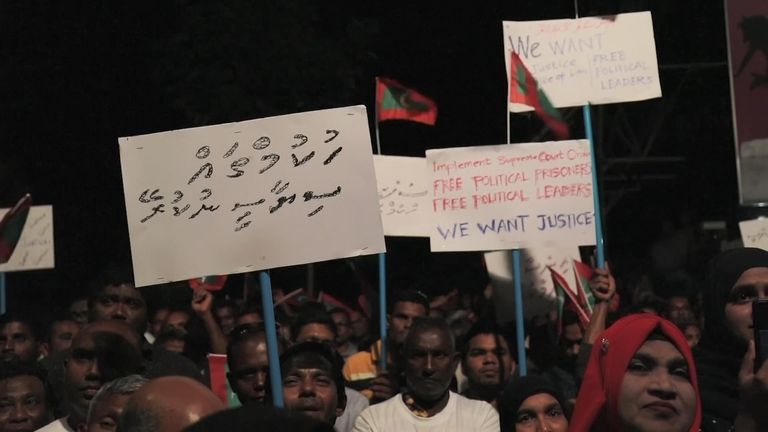 Protests in the Maldives as the opposition leader and two judges were arrested