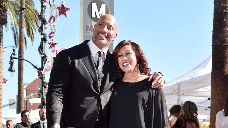 Dwayne Johnson pictured with his mother Ata in December 2017