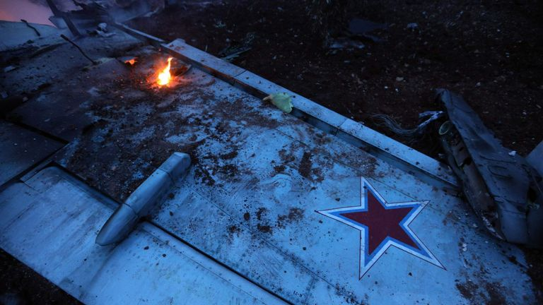 The wing of a Russian Su-25 shot down in northern Syria