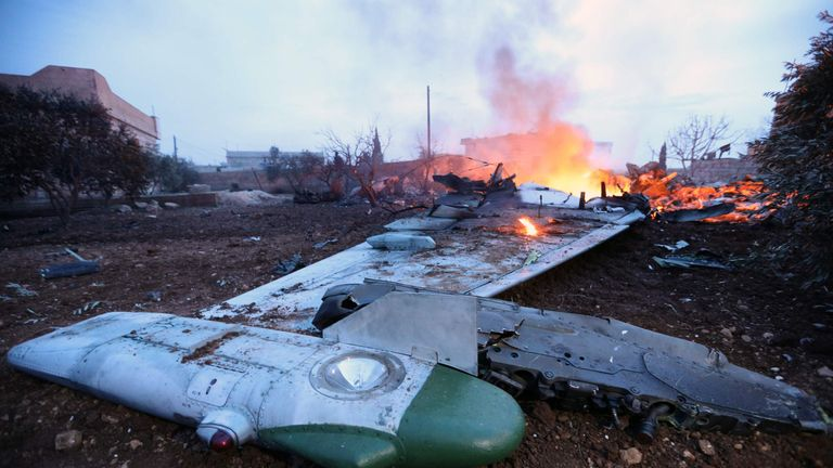 The plane was shot down in a rebel-held area near Idlib, northern Syria