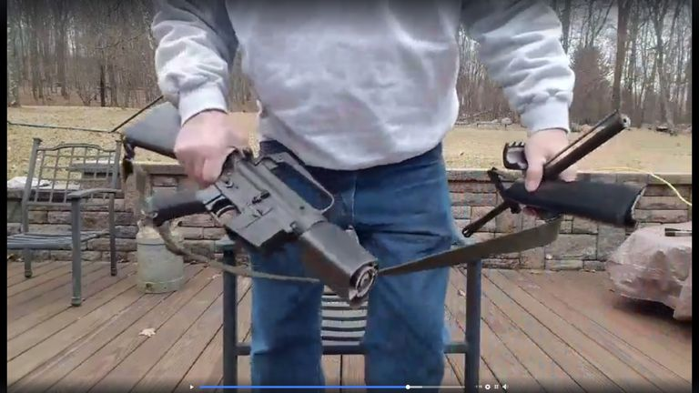 Scott Pappalardo posted a video of himself destroying his AR-15 rifle. Pic: Scott Pappalardo/Facebook