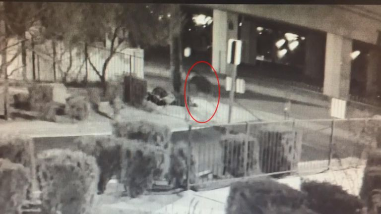CCTV shows the killer shooting James Edgar Lewis who was sleeping on a pavement. Pic: LVMPD