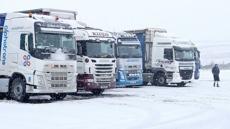 Lorries park up on the A66 during a blizzard in Durham