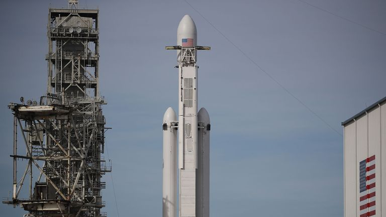 The SpaceX Falcon Heavy rocket on the launch pad at te Kennedy Space Centre