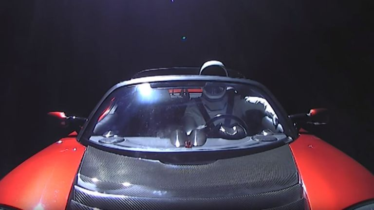 SpaceX livestreamed the cruise through space, manned by 'Starman' the mannequin