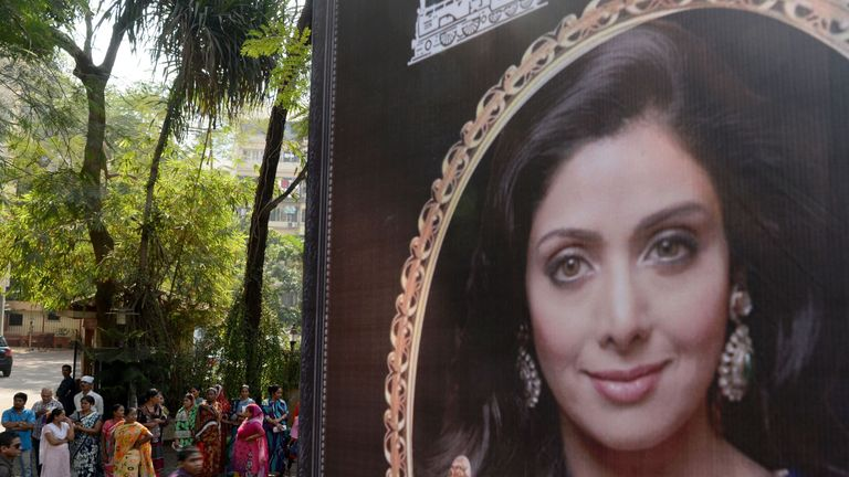 A picture of Sridevi has been put up outside her home in Mumbai