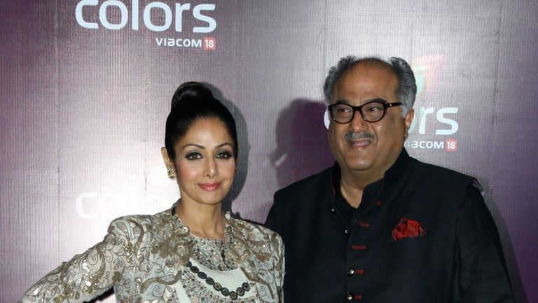 Sridevi (L) with her husband Boney Kapoor in 2015