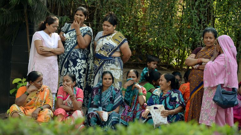 Women have gathered outside Sridevi's Mumbai house to mourn the actress