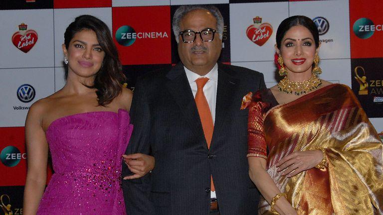 Sridevi (r) with husband Boney Kapoor and actress Priyanka Chopra in December 2017