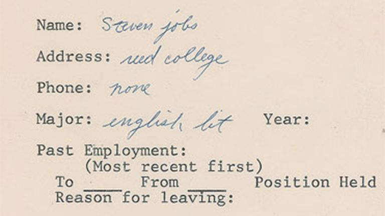 Steve Jobs Signed Job Application. Pic: RRAuction