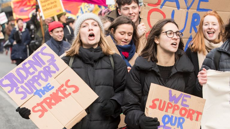Students take part in a protest in Leeds city centre to support university workers