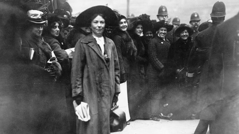 Christabel Pankhurst at a Suffragette protest outside Bow Stree Police Station