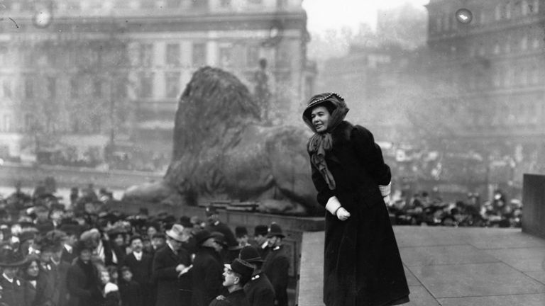 Emmeline Pankhurst addressing a crowd in Trafalgar Square in 1908