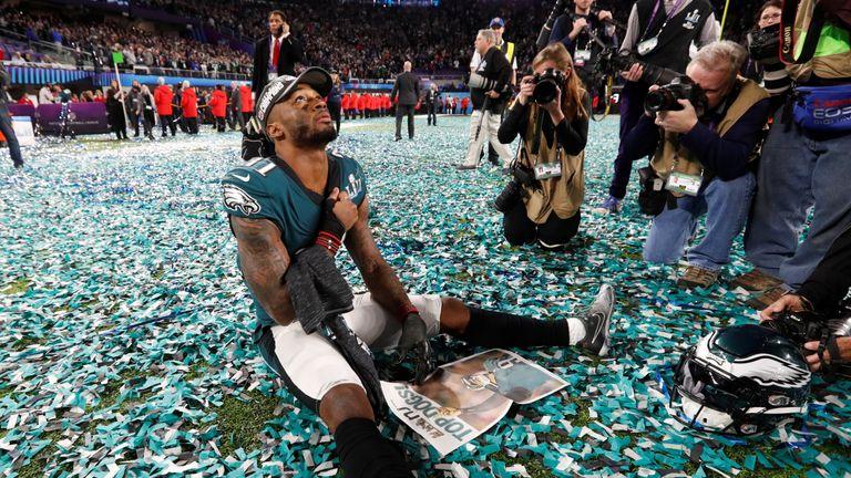 Eagles' Jalen Mills celebrates after winning the Super Bowl