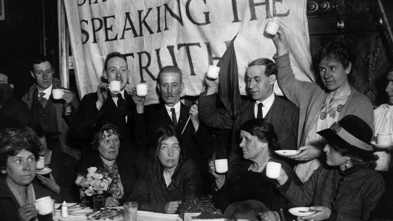 Sylvia Pankhurst (middle) being toasted after her recent release from prison