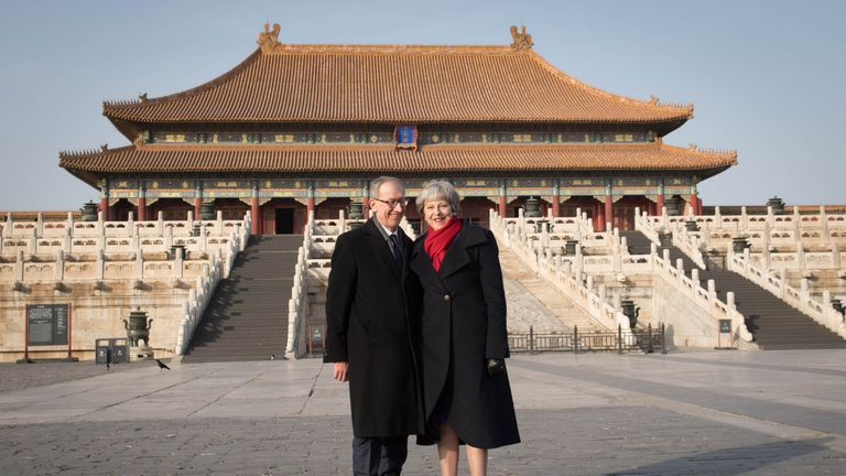 Theresa May and her husband, Philip, during a visit to the Forbidden City in Beijing