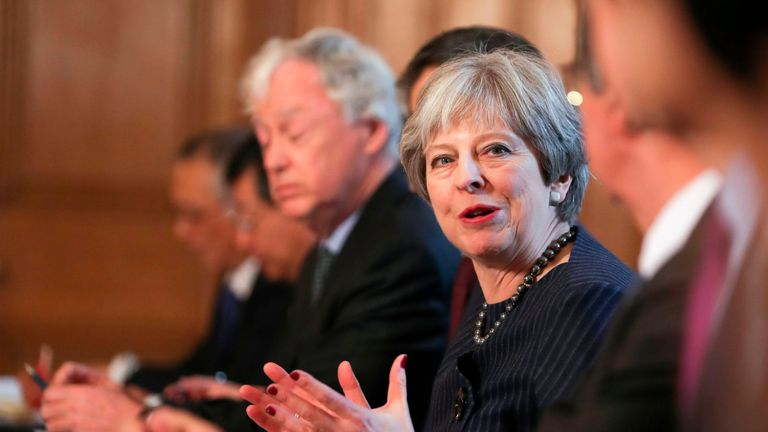 Britain's Prime Minister Theresa May speaks as she hosts a roundtable with Japanese investors in the UK at 10 Downing Street in central London on February 8, 2018