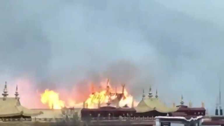Video on Twitter showed a roof alight